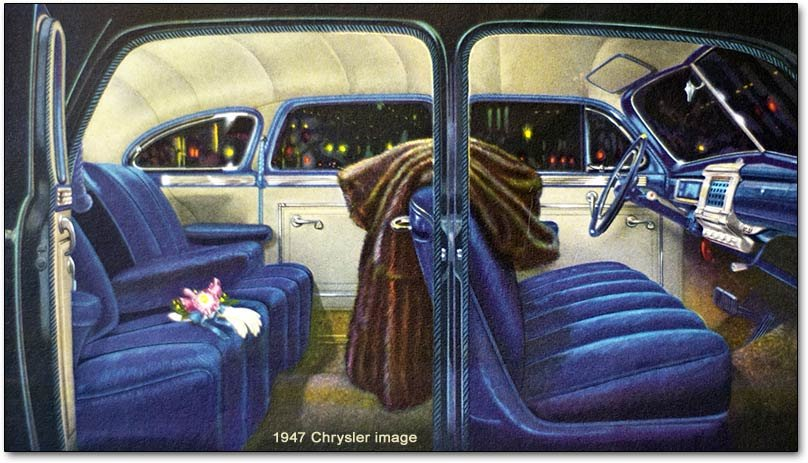 chrysler corporation postwar models 1946 1948 plymouth dodge 1948 chrysler sedan interior