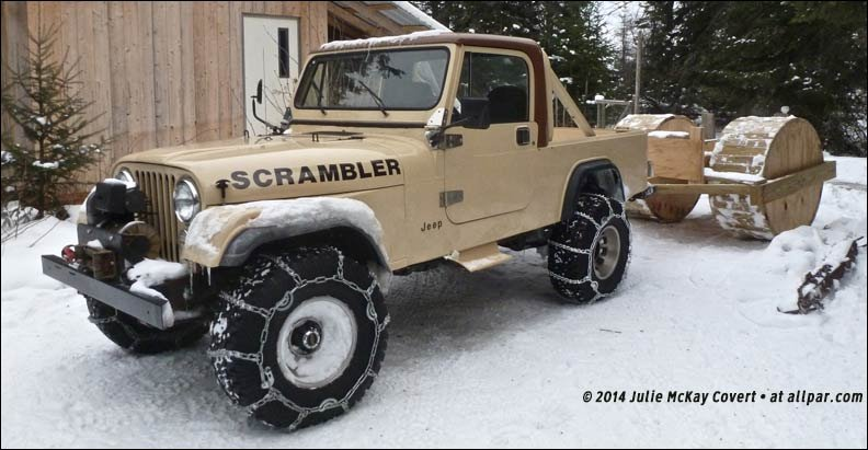 jeep scrambler in the snow
