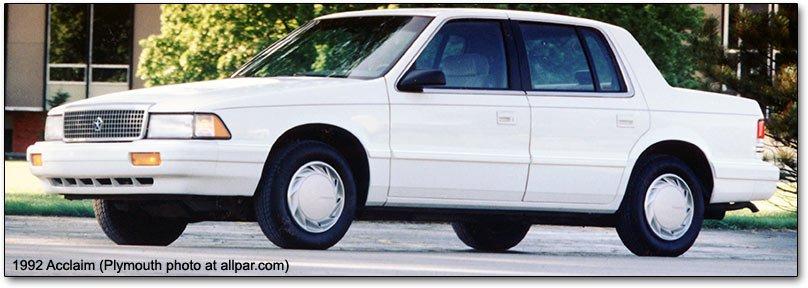 Dodge Spirit, Plymouth Acclaim, Chrysler Saratoga and LeBaron ...