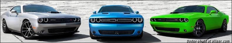 three 2015 dodge challengers