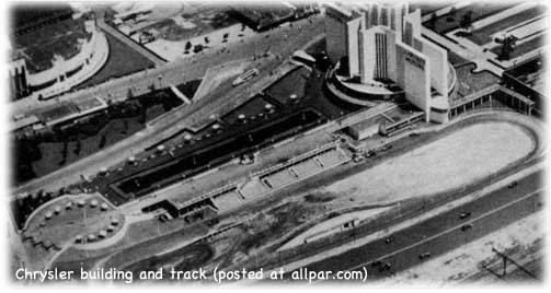 Chrysler building and track at the 1934 World's Fair