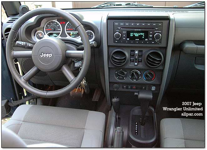 inside the Wrangler Unlimited Rubicon. The trip computer button is awkwardly