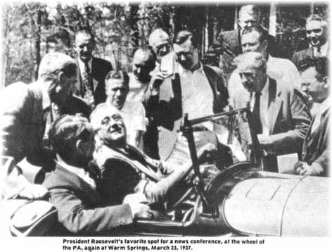 Franklin D. Roosevelt with the presidential plymouth car