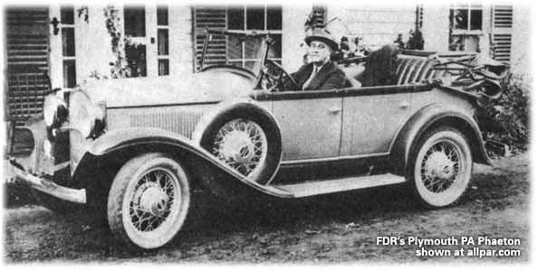 President Franklin D. Roosevelt in his Plymouth PA Phaeton car