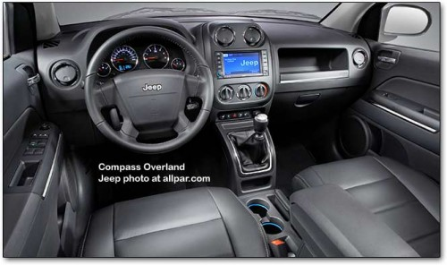 Jeep Compass Overland. The interior includes redesigned instrument panels,