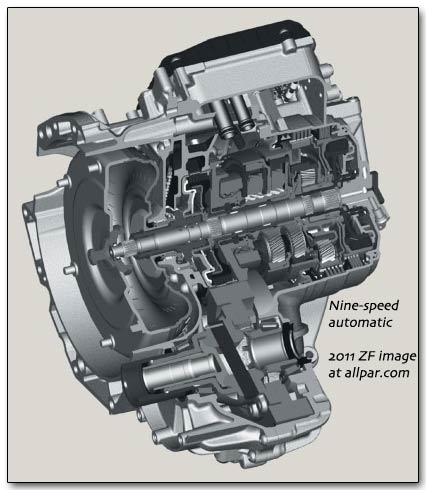 zf nine speed automatic transmission for Chrysler and Dodge cars and minivans
