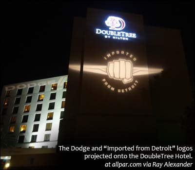 Dodge and 'Imported from Detroit' logos on hotel