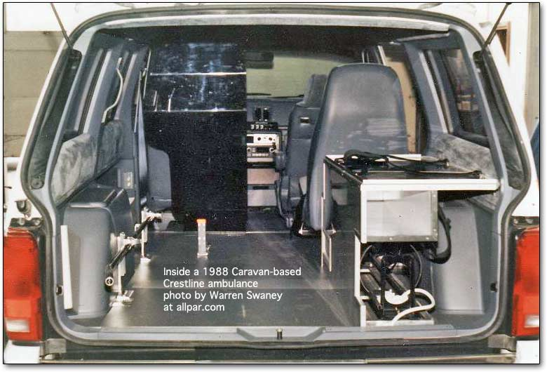 inside minivan based ambulance