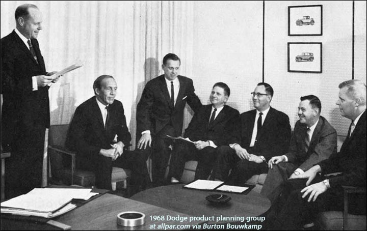 1968 Dodge cars product planning team